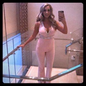 Fashionova Pink Jumpsuit with Rhinestones.